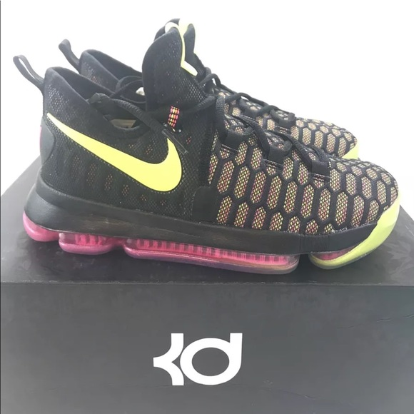 15dfdd407e94 Nike Zoom KD9 GS Youth Black Volt Pink Orange